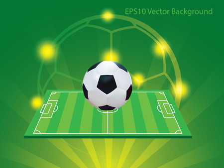 Soccer and field with green and yellow background Vector