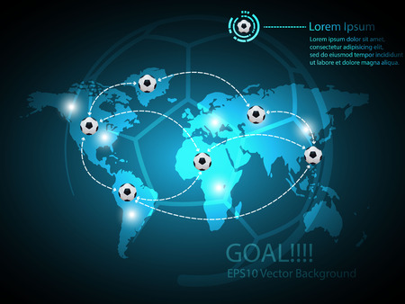 Abstract Soccer Background and world map Vector