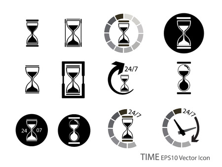 Set of Sand glass and timer icon vector illustration Vector