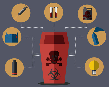 infectious waste: Red Bin Concept Vector Illustration