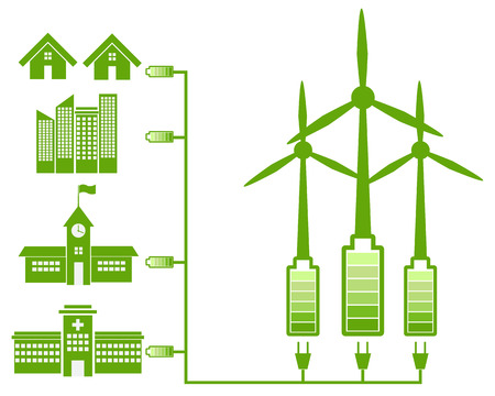 save earth: Green Energy From Wind Mill And Green Icon Illustration