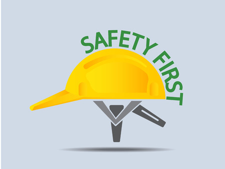 hard hat icon: Safety First Hard Hat Icon Vector Illustration Illustration