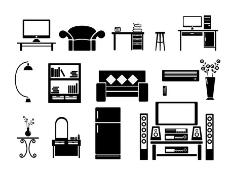 Living room Icon Set Vector Illustration Vector