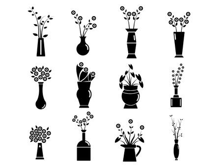 flower vase: Set of Vase Vector Illustration Illustration