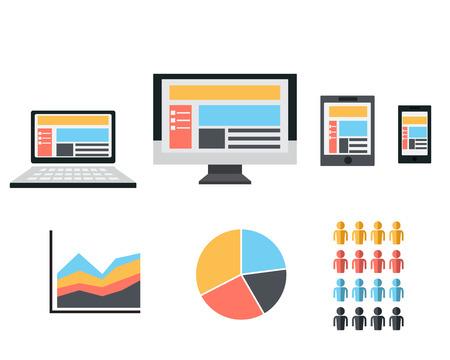 Responsive Web Design Flat Icon Vector