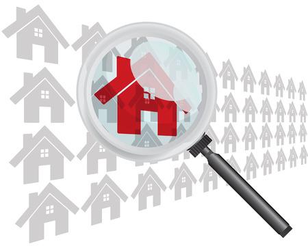Het vinden van huis met Vergrootglas Concept Vector