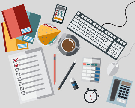 work table: Set of Icon On Work Table with Flat Style Icon Vector