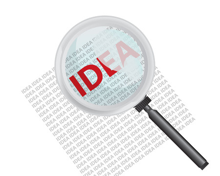 finding: Finding For Idea with Magnifying Glass Concept Vector Illustration
