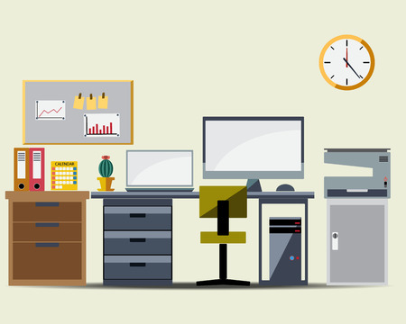 Office Working Table Icon Vector Vector