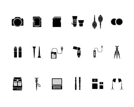 Camera Accessories Black Icon Set Vector