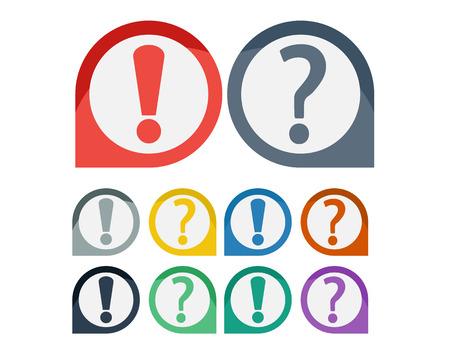 signo de admiracion: Conjunto de exclamaci�n y signo de interrogaci�n icono s�mbolo en el fondo de colores Vectores