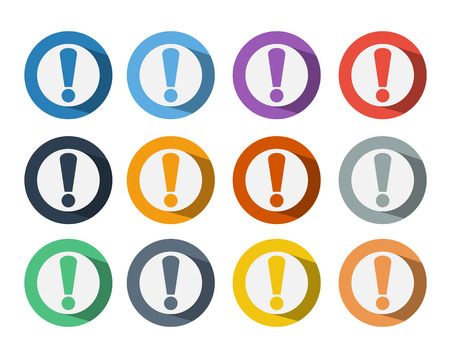 Set of Exclamation mark Icon Symbol On Colorful circle Background with Long shadow Vettoriali