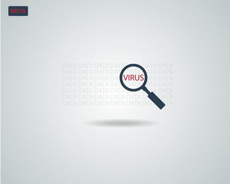 Find Virus with Magnifying Glass icon Concept Vector