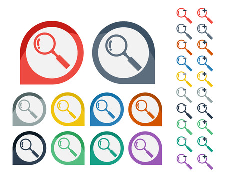 enlarge: Set of Colorful Magnifying Glass icon Illustration
