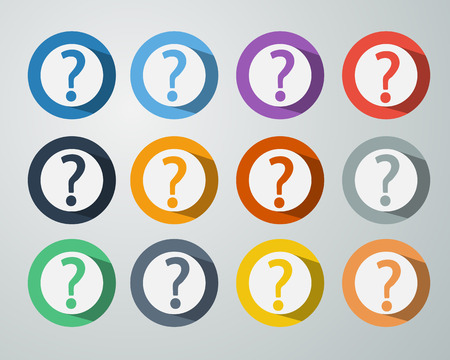 Set of Question Mark Icon Symbol on Colorful Circle Background with Long Shadow Vector