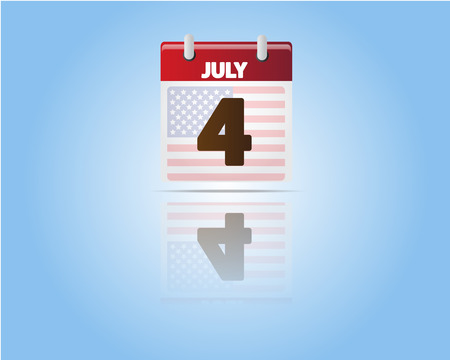 Calendar of 4 July,Independence Day with USA Flag Vector