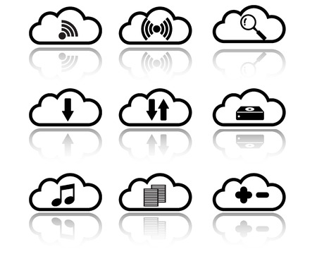 Cloud with Sign and Symbol Icon Vector