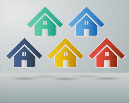 icone immobilier: Ensemble de maison color�e et biens immeubles Ic�ne Symbole