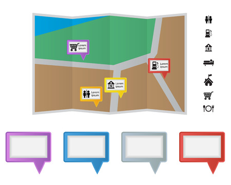 Colorful Speach Bubble Label on Map with Sign and Symbol Vector