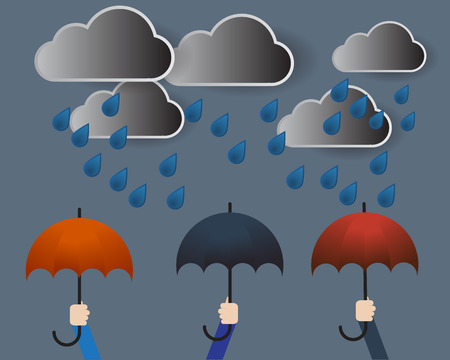 Cloud with Rain and Colorful Umbrella Vector