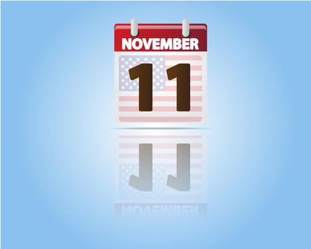 Calendar of 11 November Veterans Day with USA Flag Vector