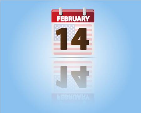 Calendar of 14 February,Valentines Day with USA Flag Vector