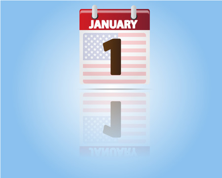 1 january: Calendar of 1 January,New Year with USA Flag Illustration