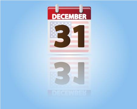 31: Calendar of 31 December with USA Flag Illustration