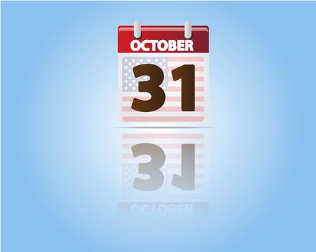 Calendar of 31 October,Halloween Day with USA Flag Vector
