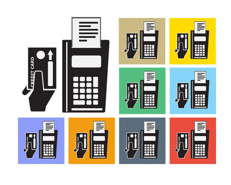 Credit Card and Payment Machine Icon Symbol Vector Vector
