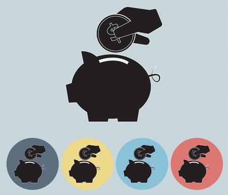 Piggy Bank Saving Icon Symbol Vector Vector