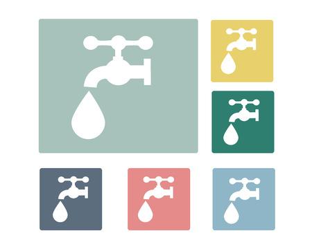 Faucet with Water Drop Icon Symbol Vector Vector