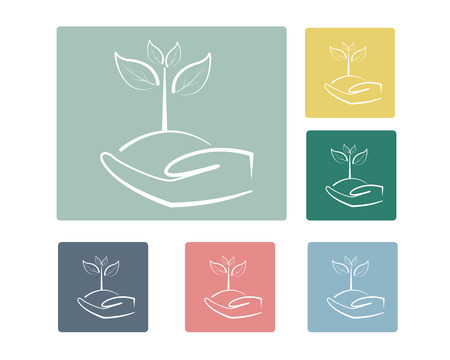 Leaf on Hand Icon Symbol Vector Illustration Set,Save World Concept Vector