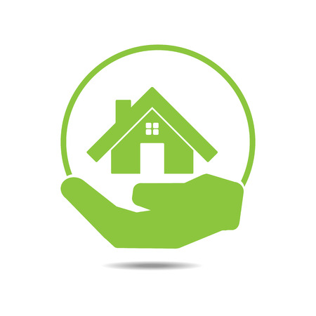 手エコ概念ベクトルのグリーン ホーム  イラスト・ベクター素材