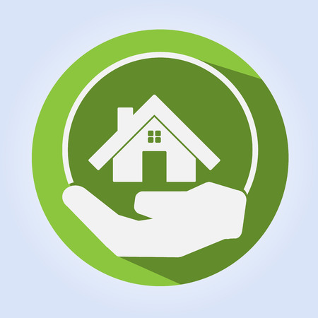 Green Home on Hand Eco Concept with Long Shadow  Vector