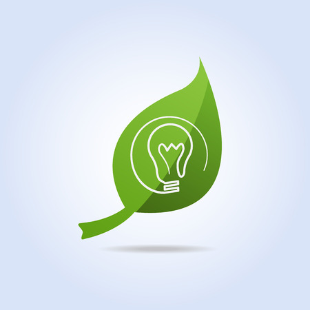 Eco Bulb Light Icon Symbol on Green Leaf Vector Vector