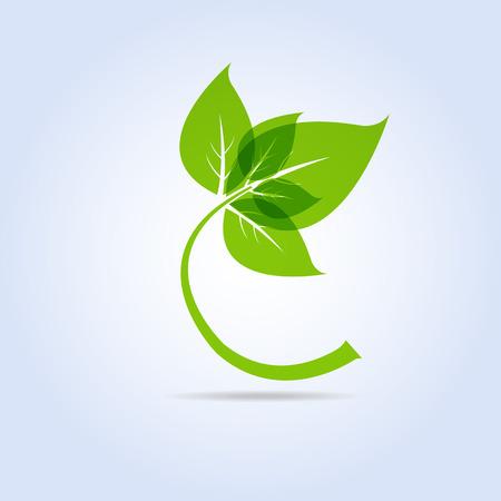 녹색 잎 아이콘 기호 벡터