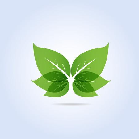 Green Leaf Symbol Butterfly Shape Vector Illustration Vettoriali