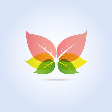 다채로운 잎 나비 모양 아이콘 기호 벡터