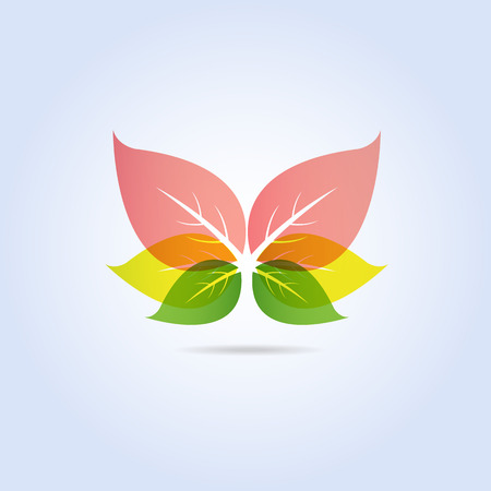 Colorful Leaf Butterfly Shape Icon Symbol Vector