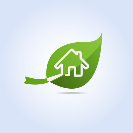 Eco Home and Leaf Icon Symbol Vector Vector