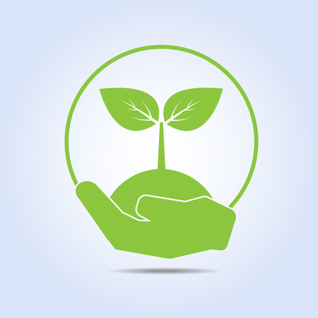 Leaf In Human Hand Green Eco Concept Vector Vector