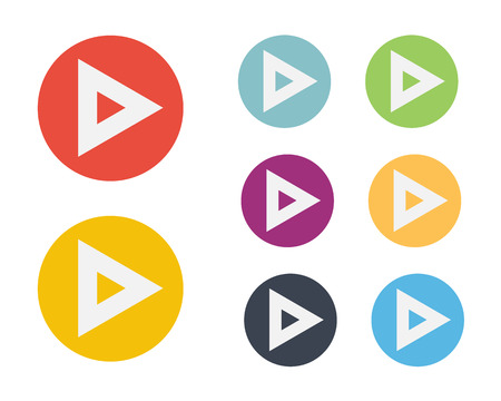 play button: Play Symbol Flat Icon Vector Set