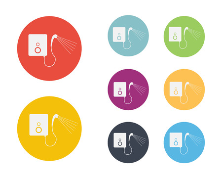 Shower with Heater Water Icon Symbol Vector Vector