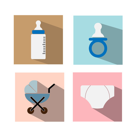 diaper pins: Baby Icon Set with Long Shadow Vector