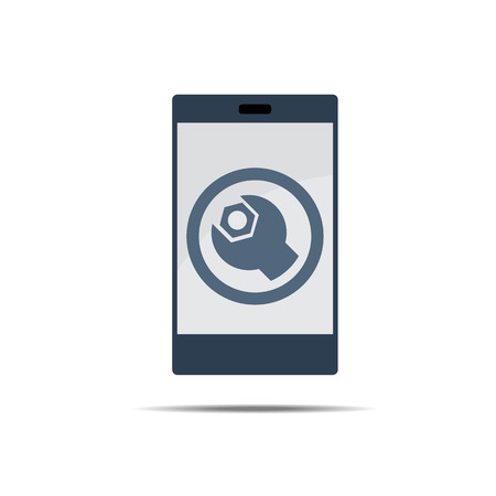 computer repair concept: Maintenence Display Icon Symbol on Smart Phone Display Vector Illustration