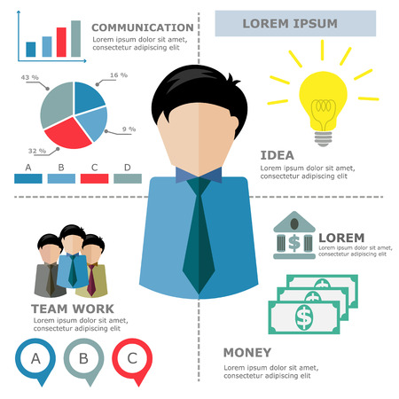 Business man Infographic Vector Vector