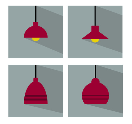 ceiling lamps: Ceiling Lamp Set Flat Icon with Long Shadow Vector Illustration
