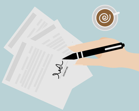 signing contract: Business Concept Hand Writing Signature,Signing Contract on White Paper