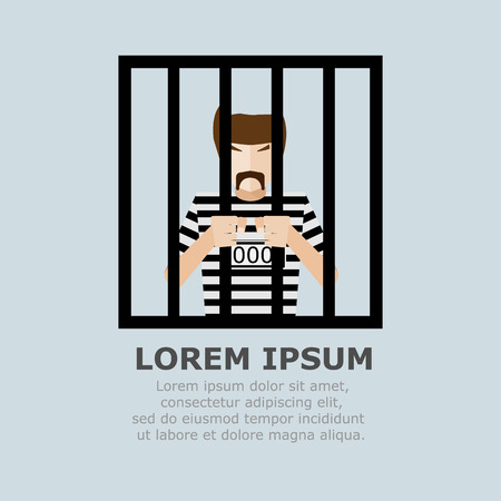 mugshot: Prisoner in Jail Cartoon Vector Illustration